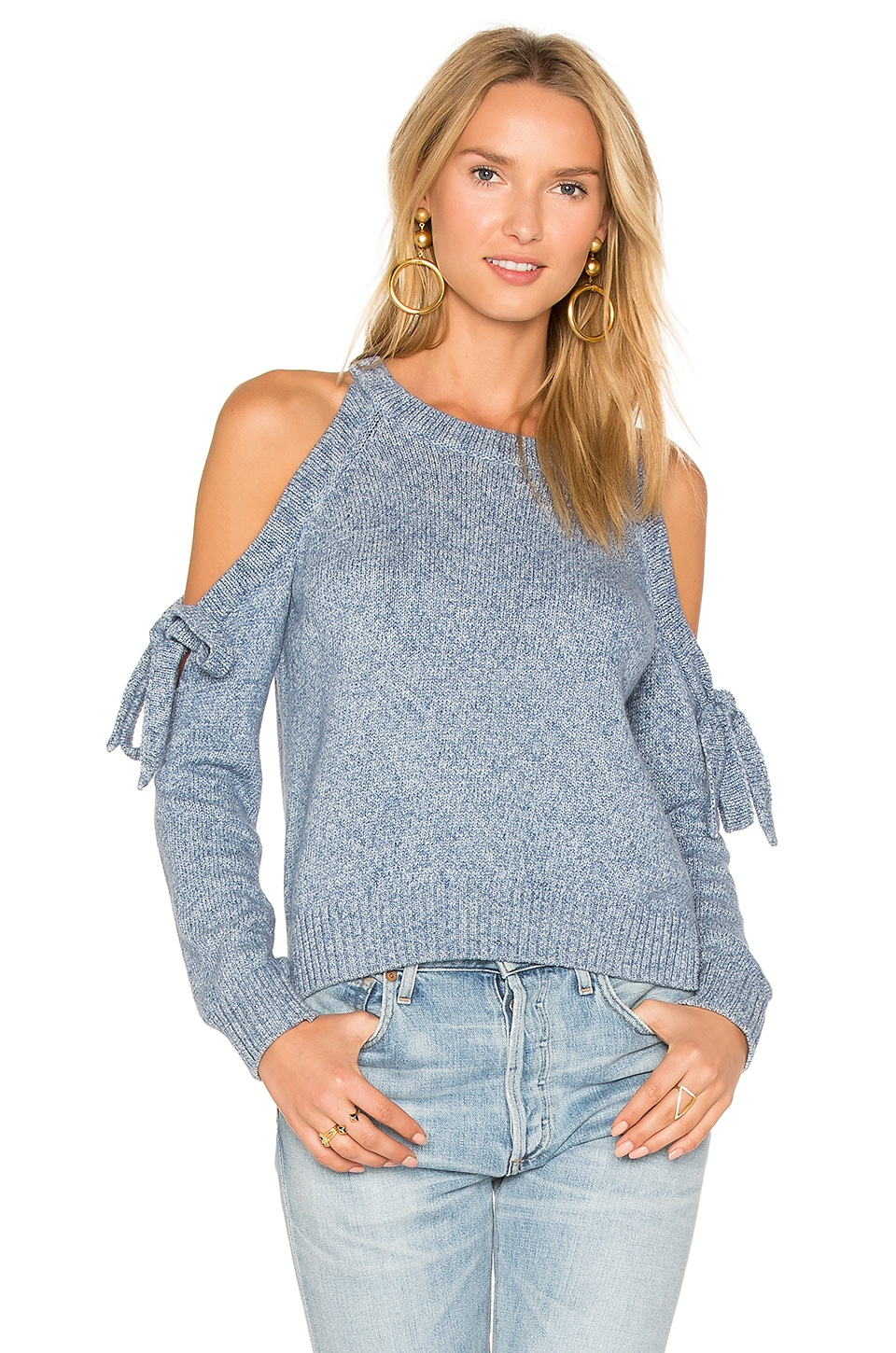 MILLY Tie Shoulder Sweater in Chambray