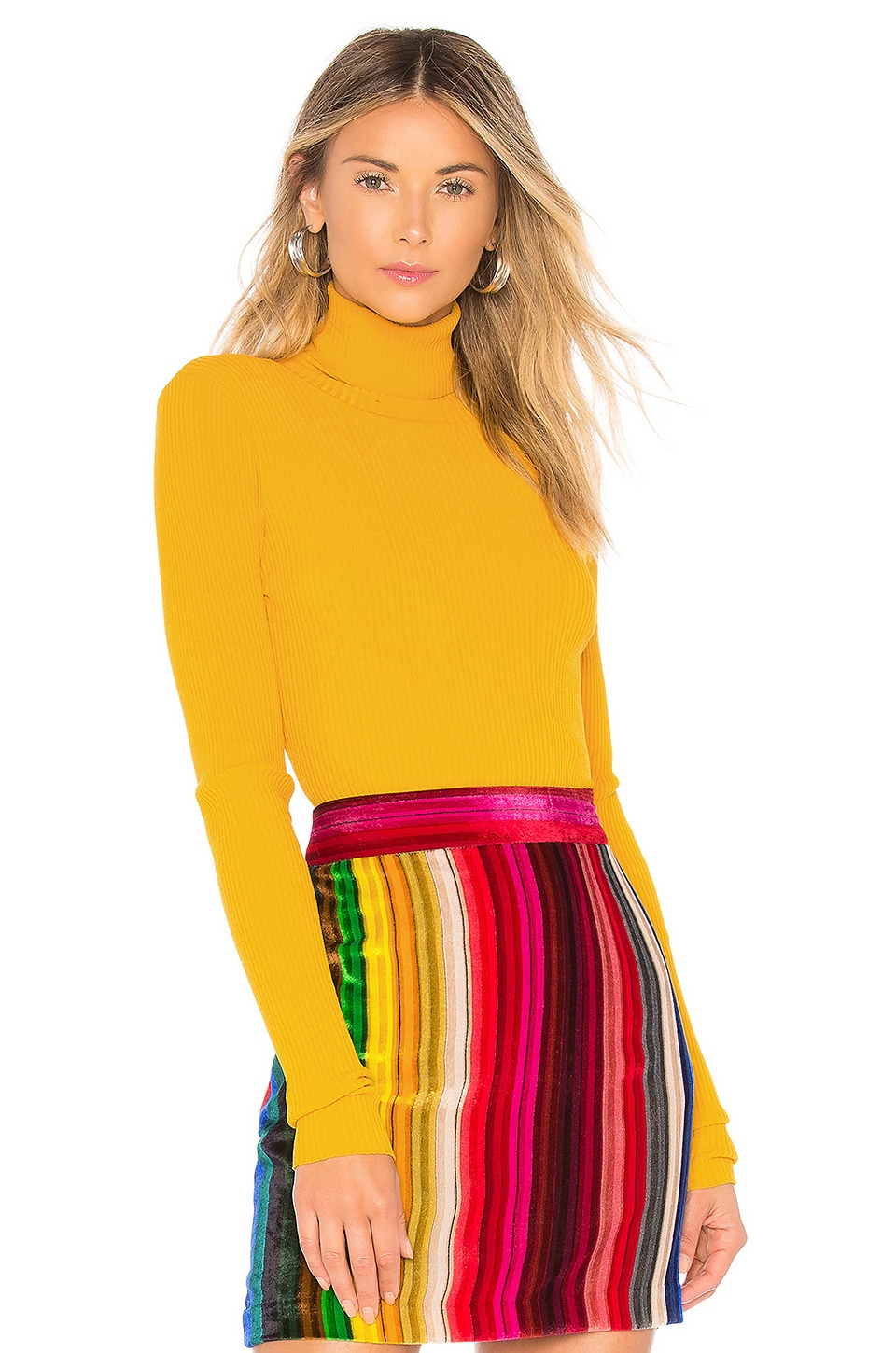 MILLY Rib Turtleneck Pullover in Yellow