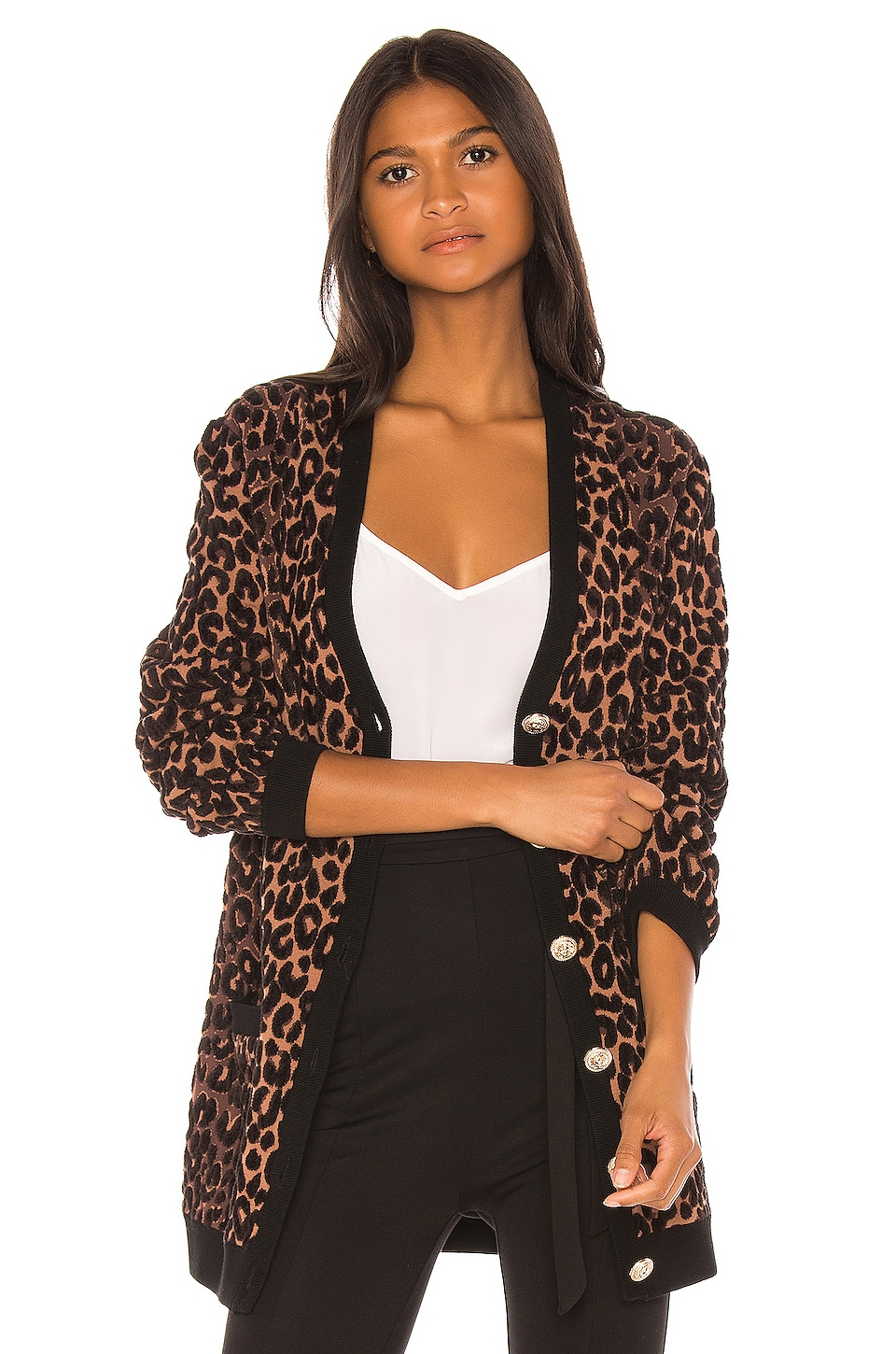 MILLY Cheetah Cardigan in Natural Multi