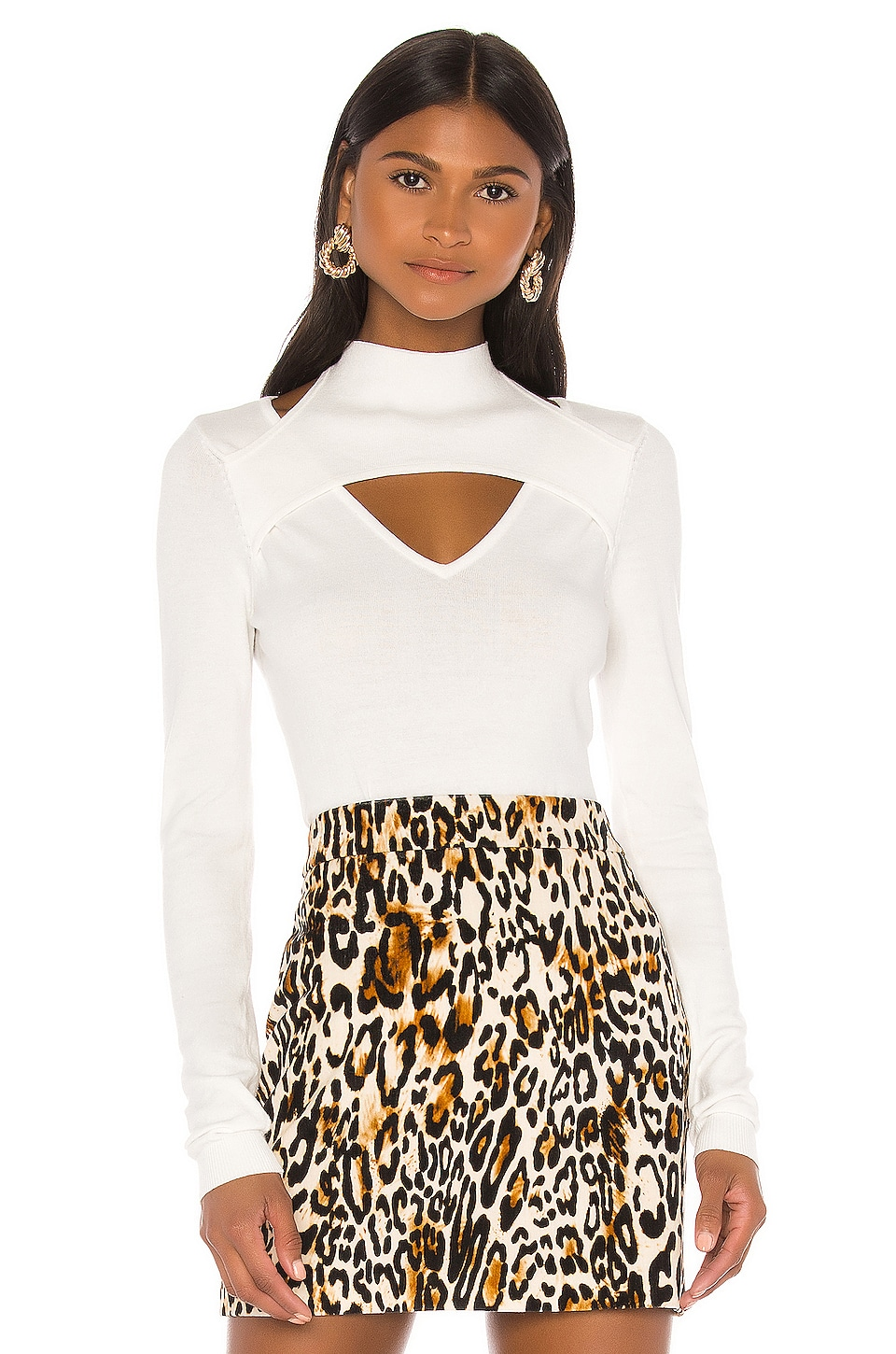 MILLY Peek-A-Boo Pullover in White