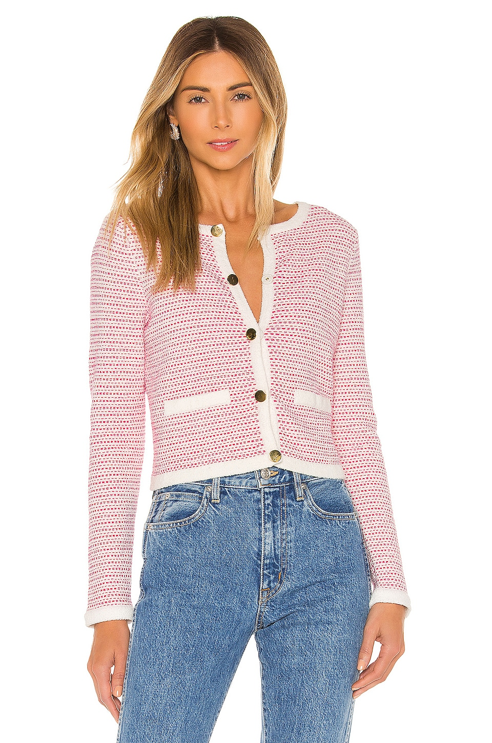 MILLY Tweed Knit Cropped Cardi in White Multi