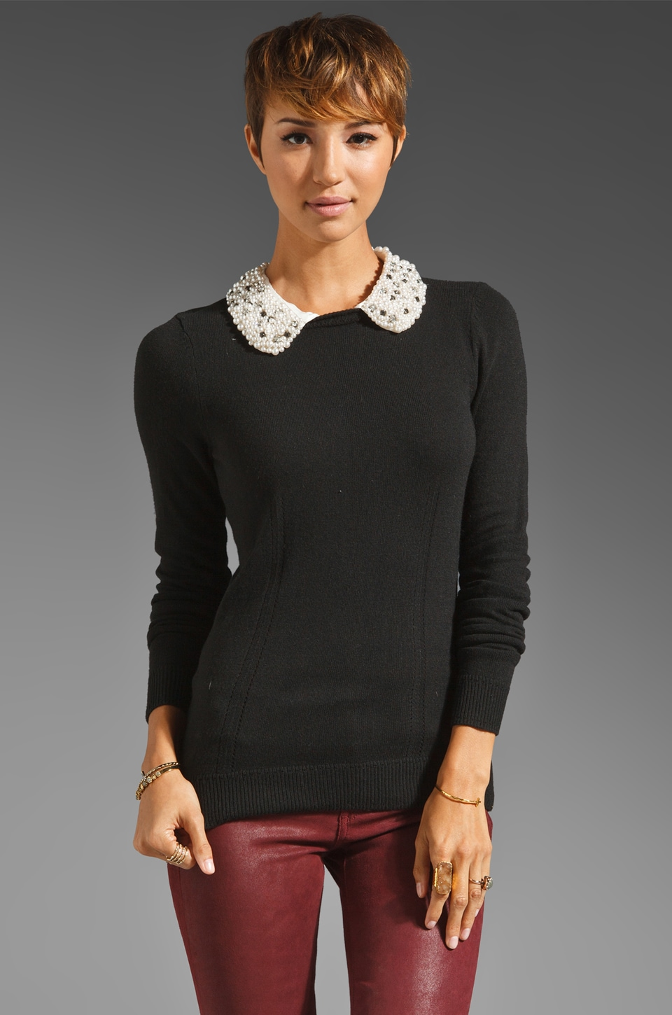 MILLY Jewel Trim Detachable Collar Sweater in Black