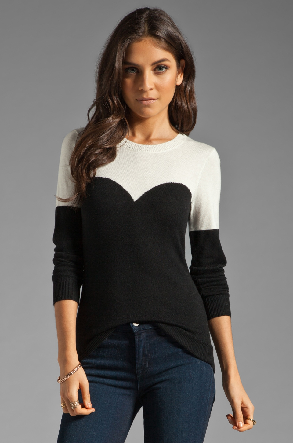MILLY Marilyn Intarsia Sweater in Black and Ivory