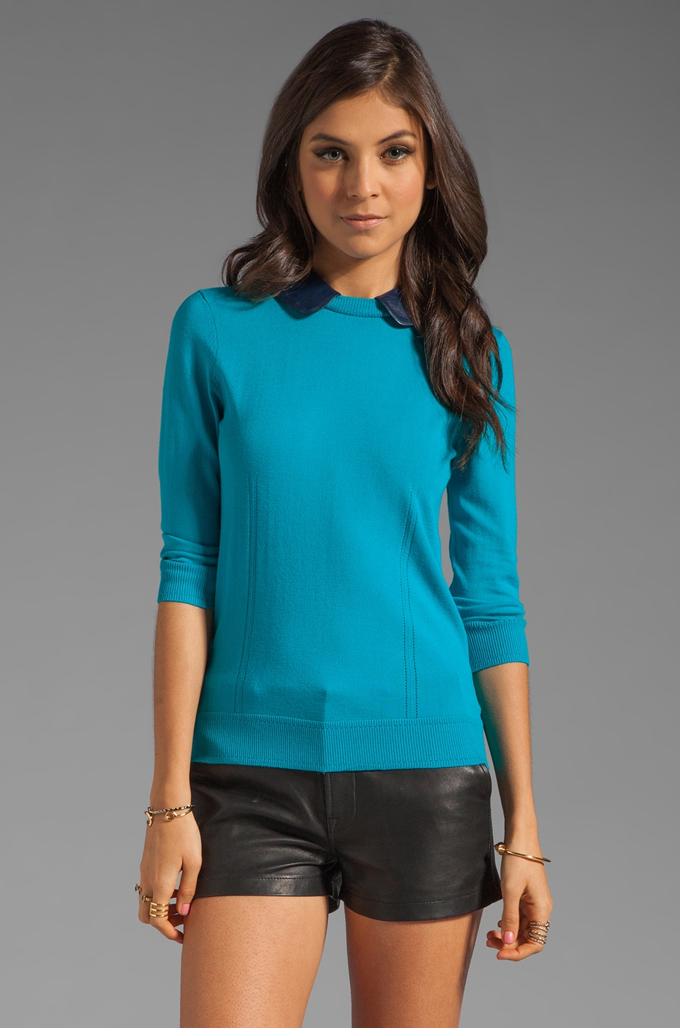 MILLY November Knit Leather Collar Sweater in Aqua and Navy