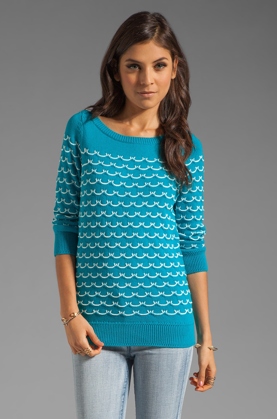 MILLY November Knit Sailor Stitch Sweater in Aqua and Ecru