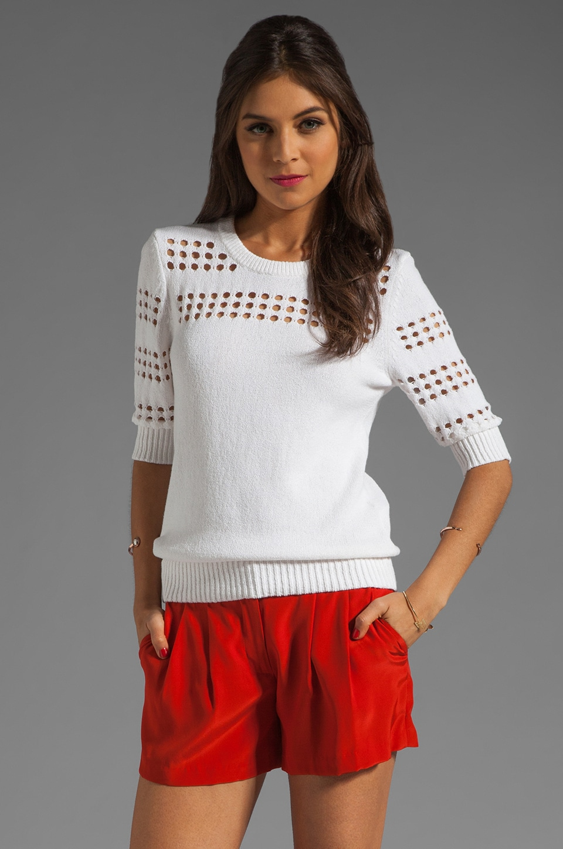 MILLY Pointelle Stripe Sweater in Ivory