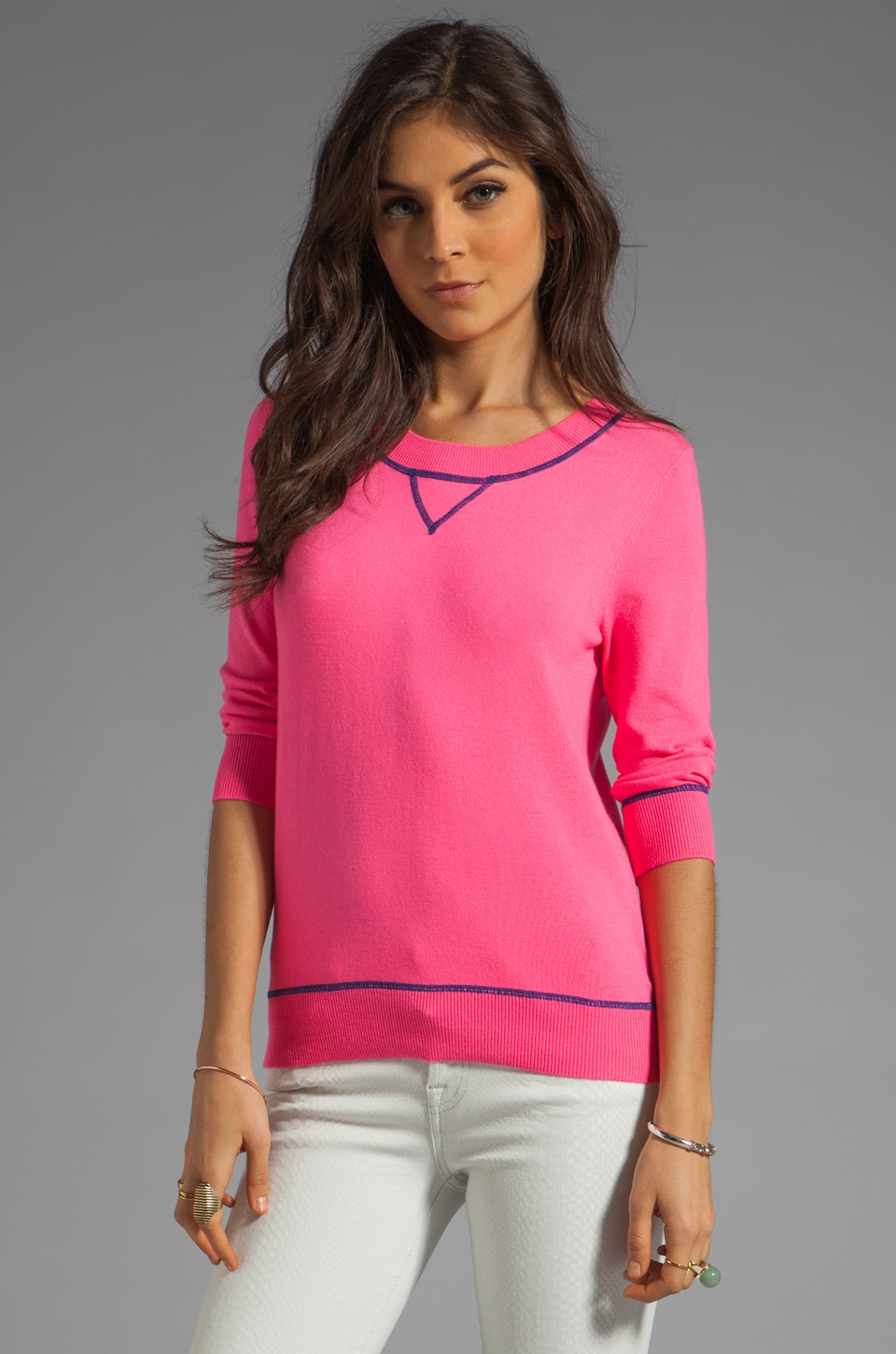 MILLY January Knits Sweatshirt in Shocking Pink/Lapis