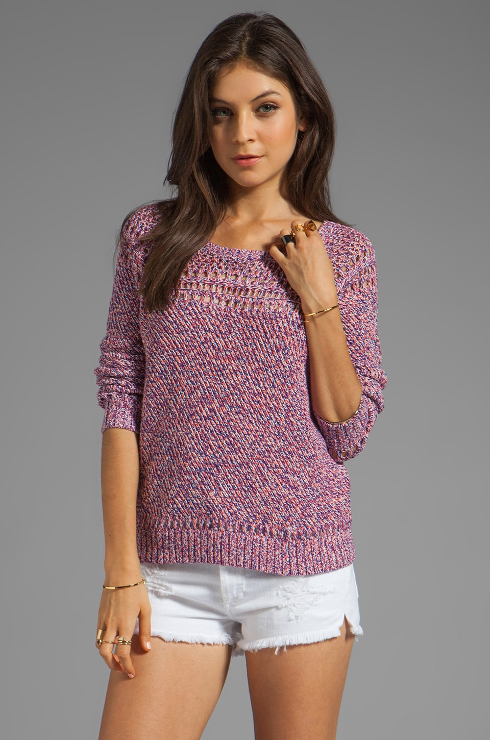 MILLY April Knits Claudia Melange Pullover in Multi