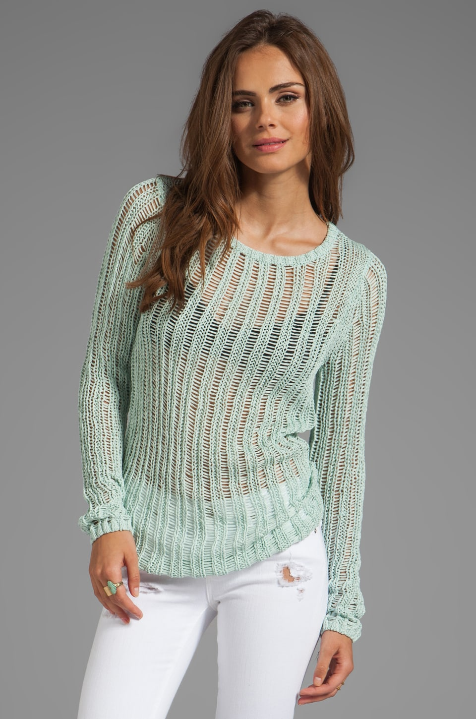 MILLY May Knits Katelyn Ladder Stitch Sweater in Mint