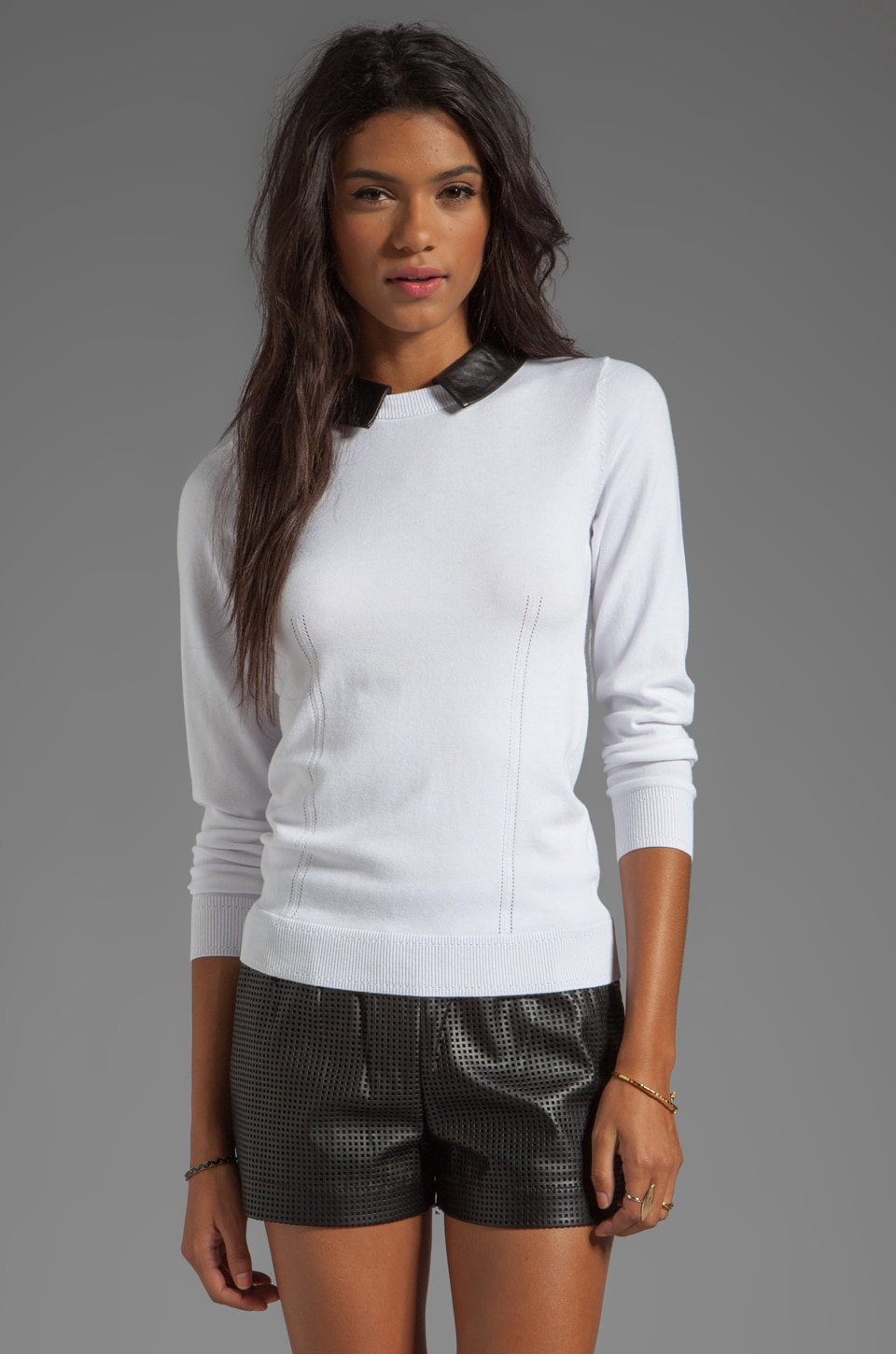 MILLY June Knits Leather Collar Sweater in White/Black