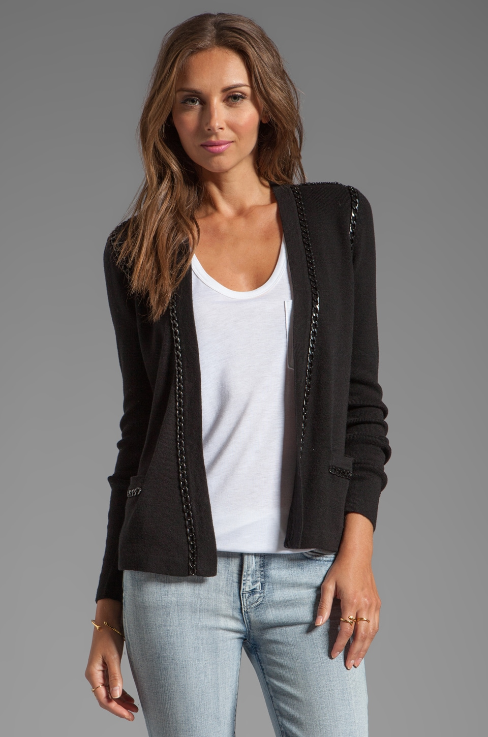 MILLY June Knits Kylie Open Chain Cardigan in Black