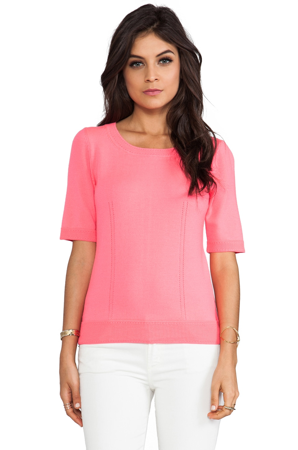 MILLY Knit Zip Back Sweater in Fluo Coral