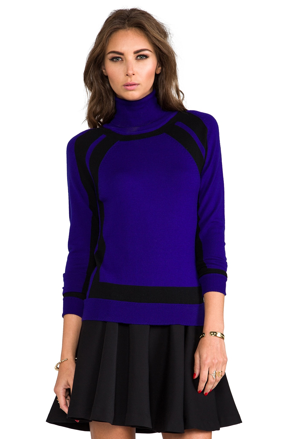 MILLY Knit Colorblock Turtleneck Sweater in Black/Colbalt