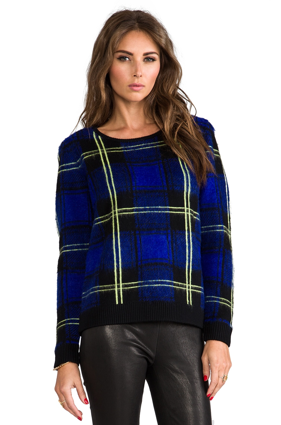 MILLY RUNWAY Knit Washed Plaid Jacquard Sweater in Violet Multi