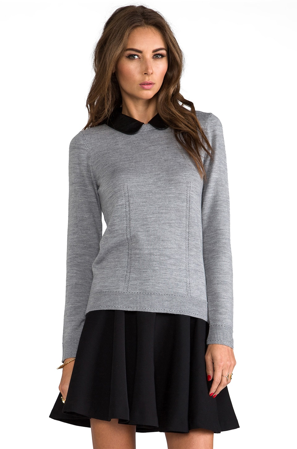 MILLY Knit Leather Collar Sweater in Charcoal