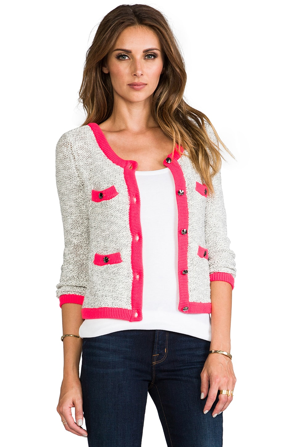 MILLY Contrast Trom Cardigan in Marble