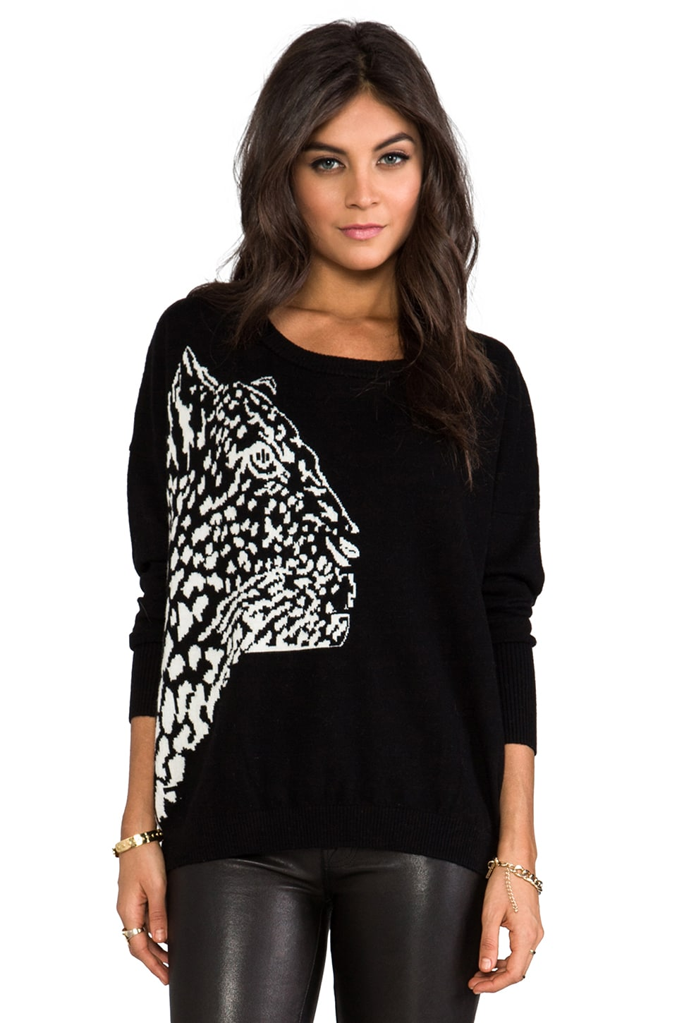 MILLY Cheetah Intarsia Sweater in Black/Ecru