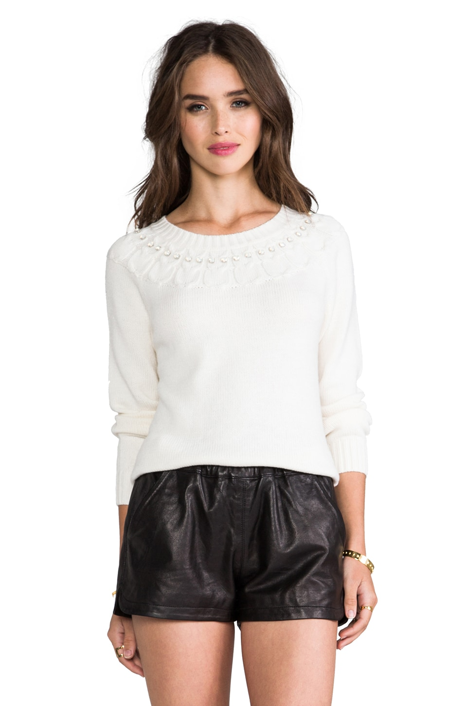 MILLY Owl Stitch Sweater in White