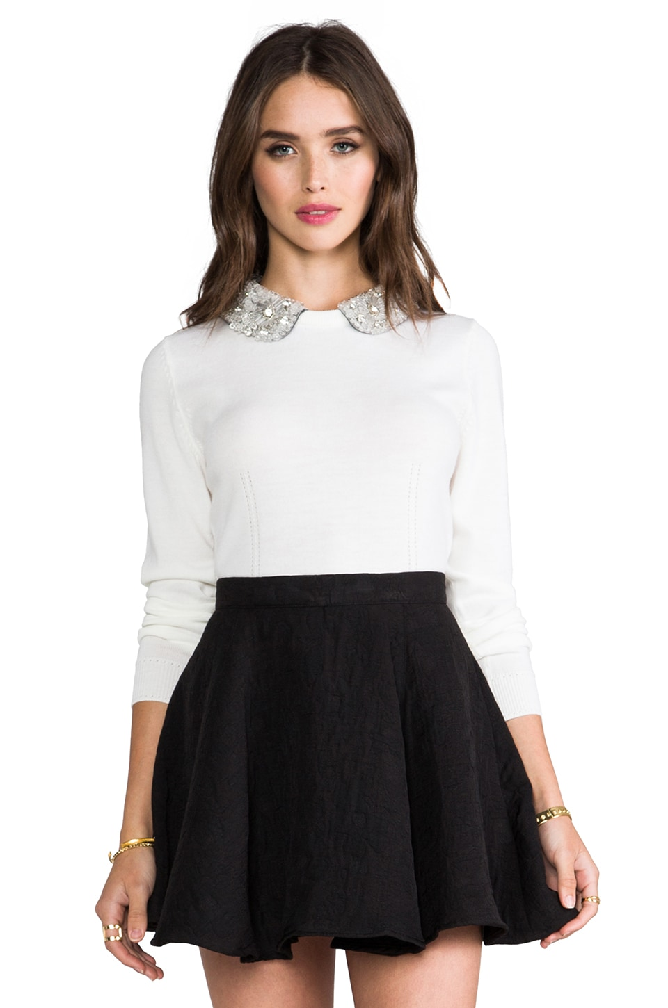 MILLY Crystal Collar Sweater in White
