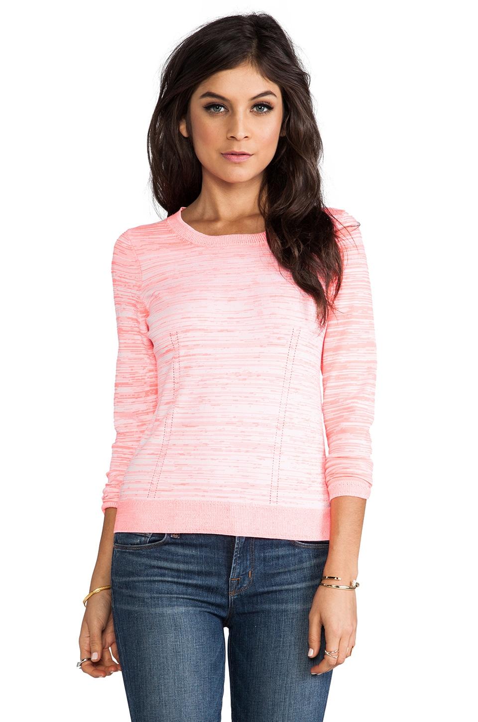 MILLY Long Sleeve Pullover in White & Coral