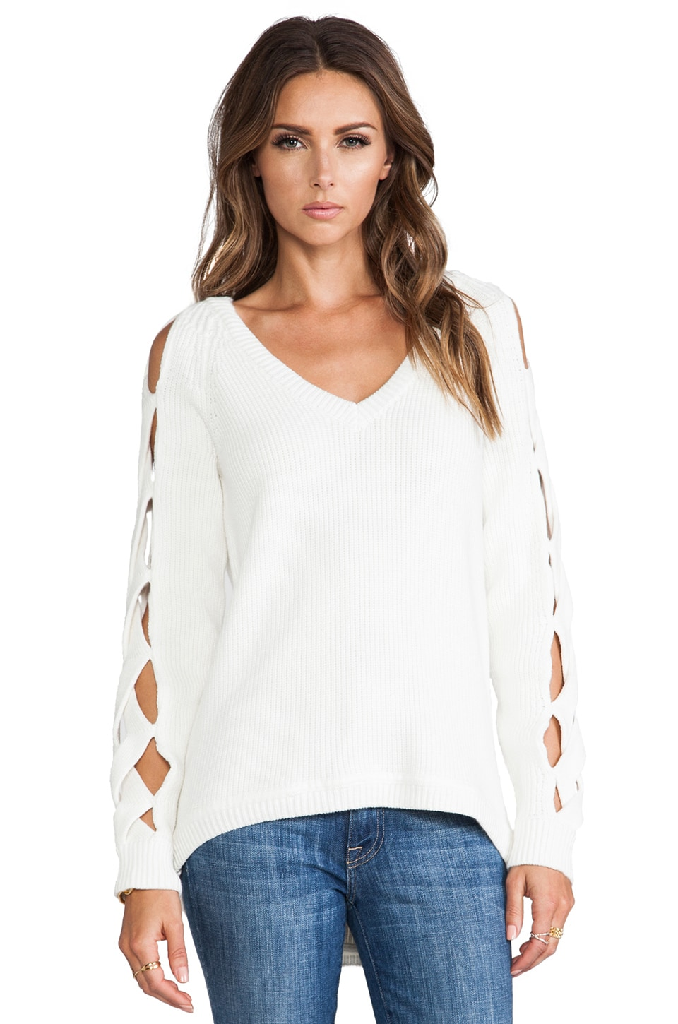 MILLY Peek-a-boo Sleeve Tunic in White