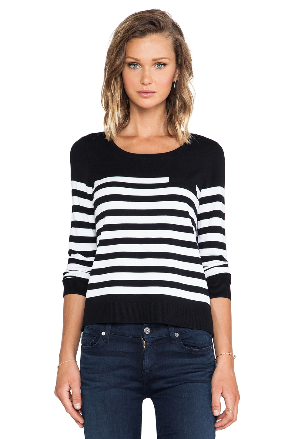 MILLY Classic Striped Sweater in Black & White
