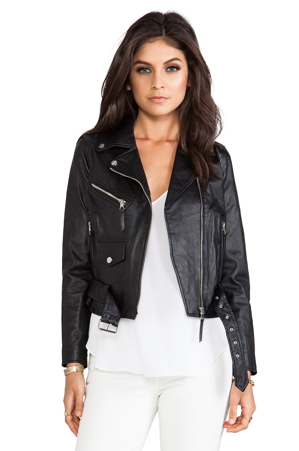 MILLY Stretch Plonge Leather Motorcycle Jacket in Black