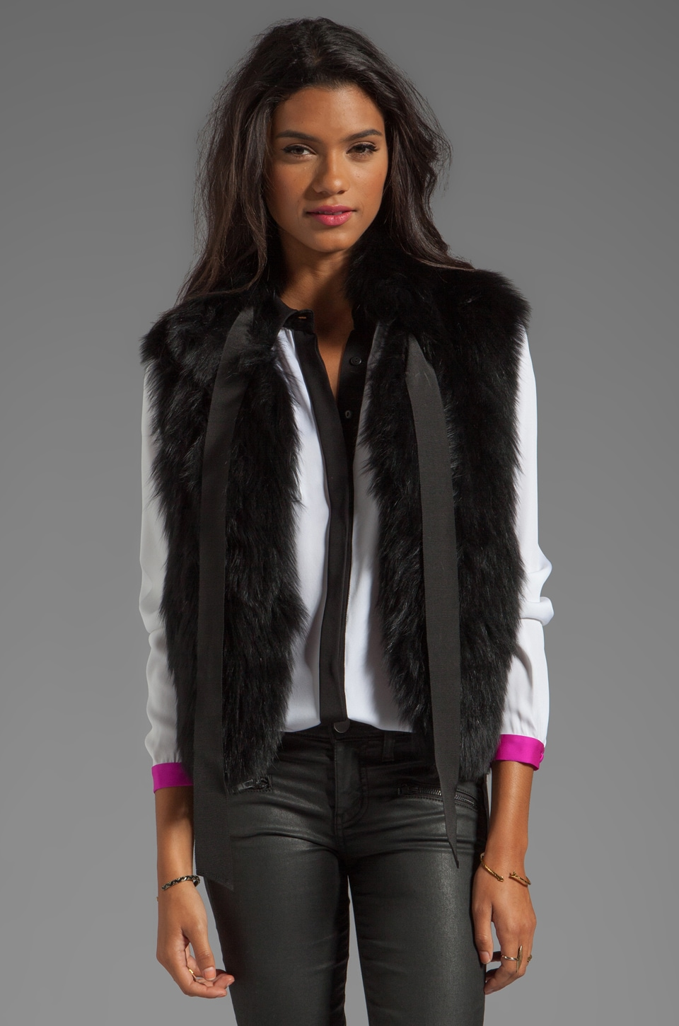 MILLY Featherweight Fur Madison Vest in Black