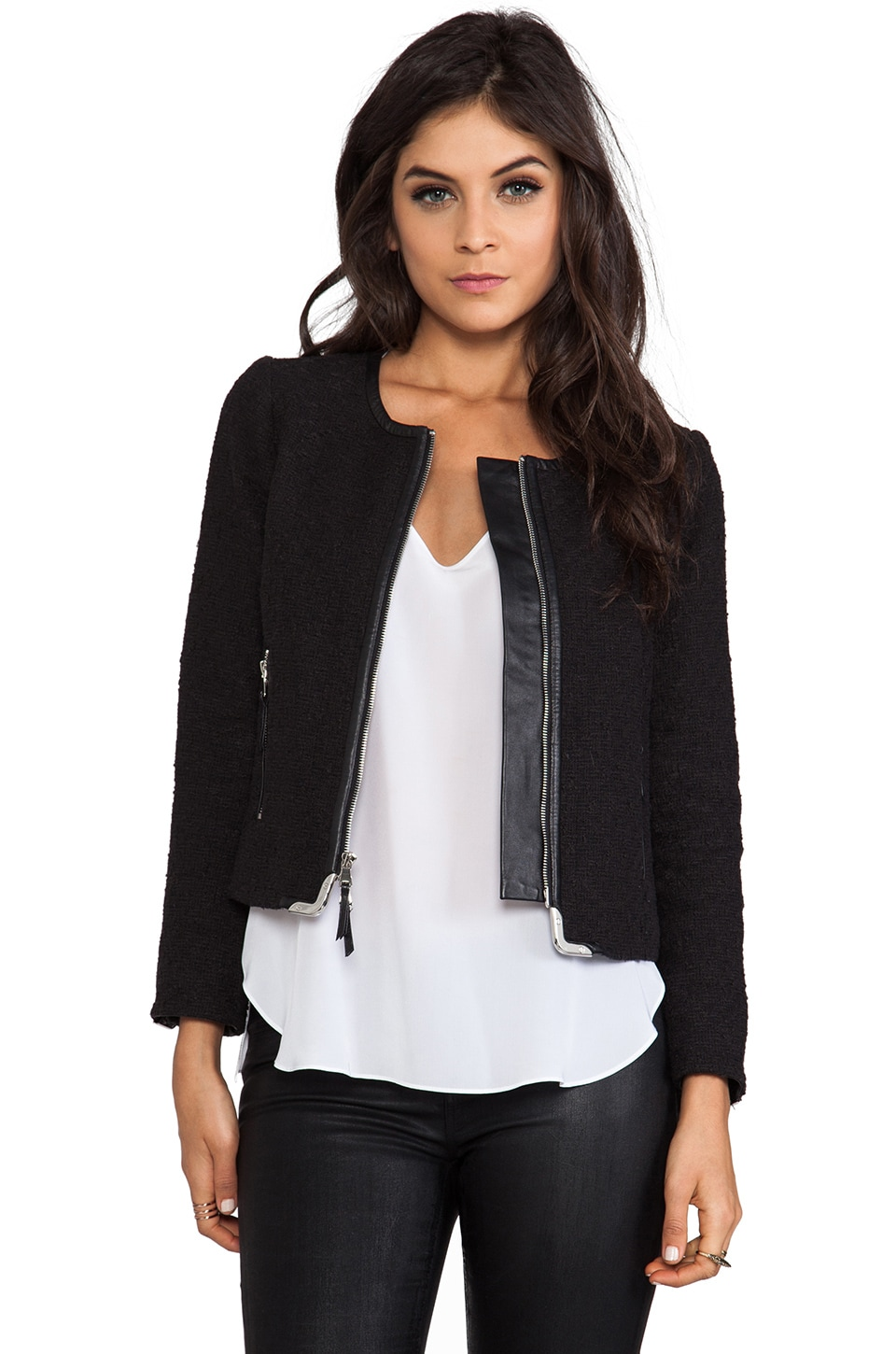 MILLY Biella Tweed Harper Zipper Jacket in Black