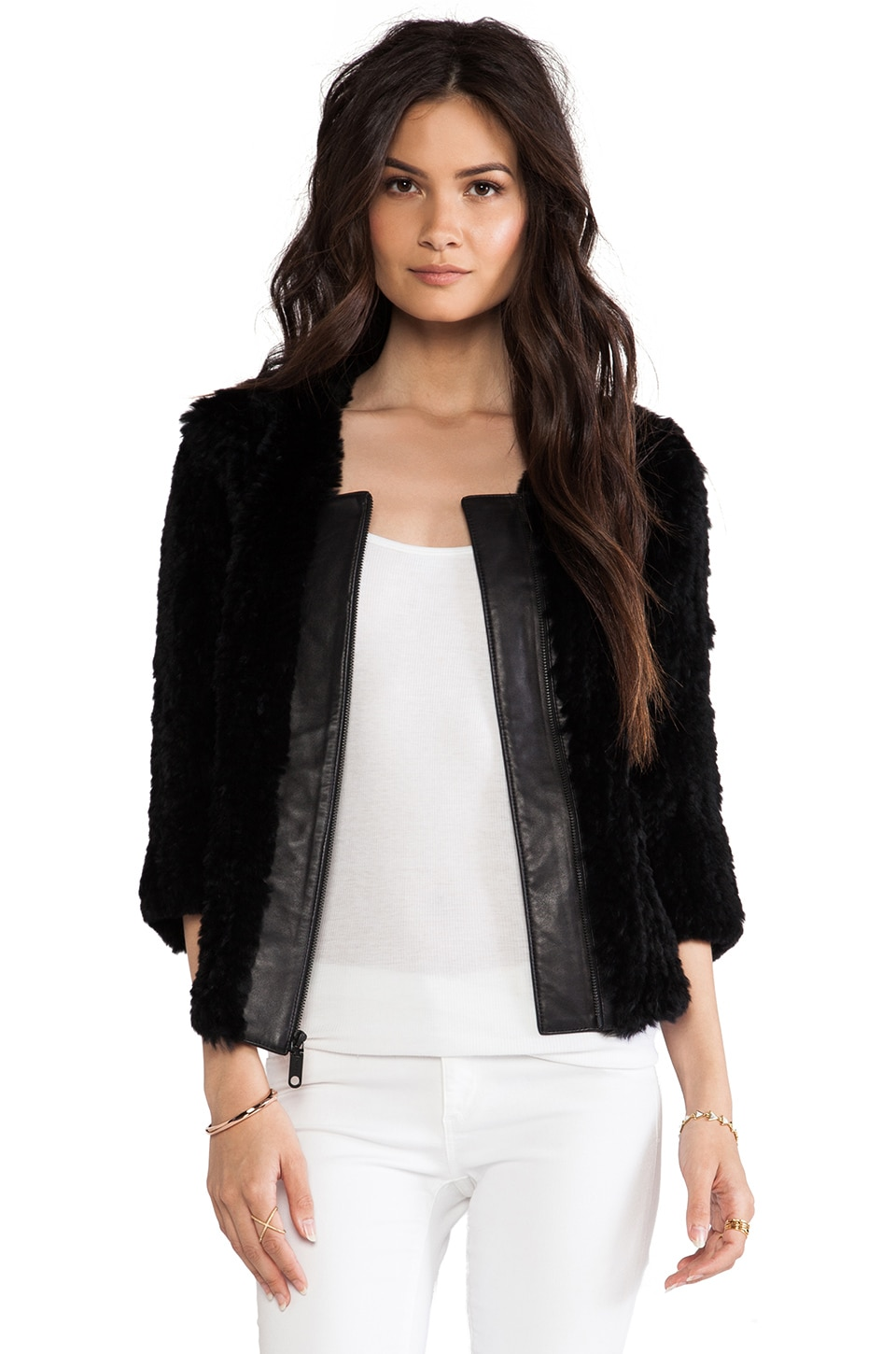MILLY RUNWAY Featherweight Fur Knitted Fur Jacket in Black