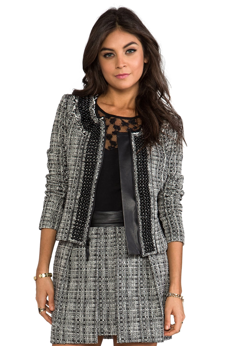 MILLY Black and White Tweed Jacket in Black