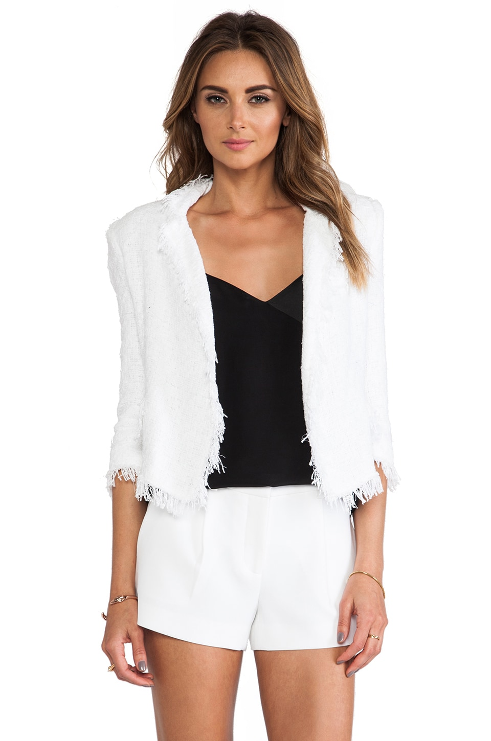 MILLY Double Breasted Cropped Blazer in White