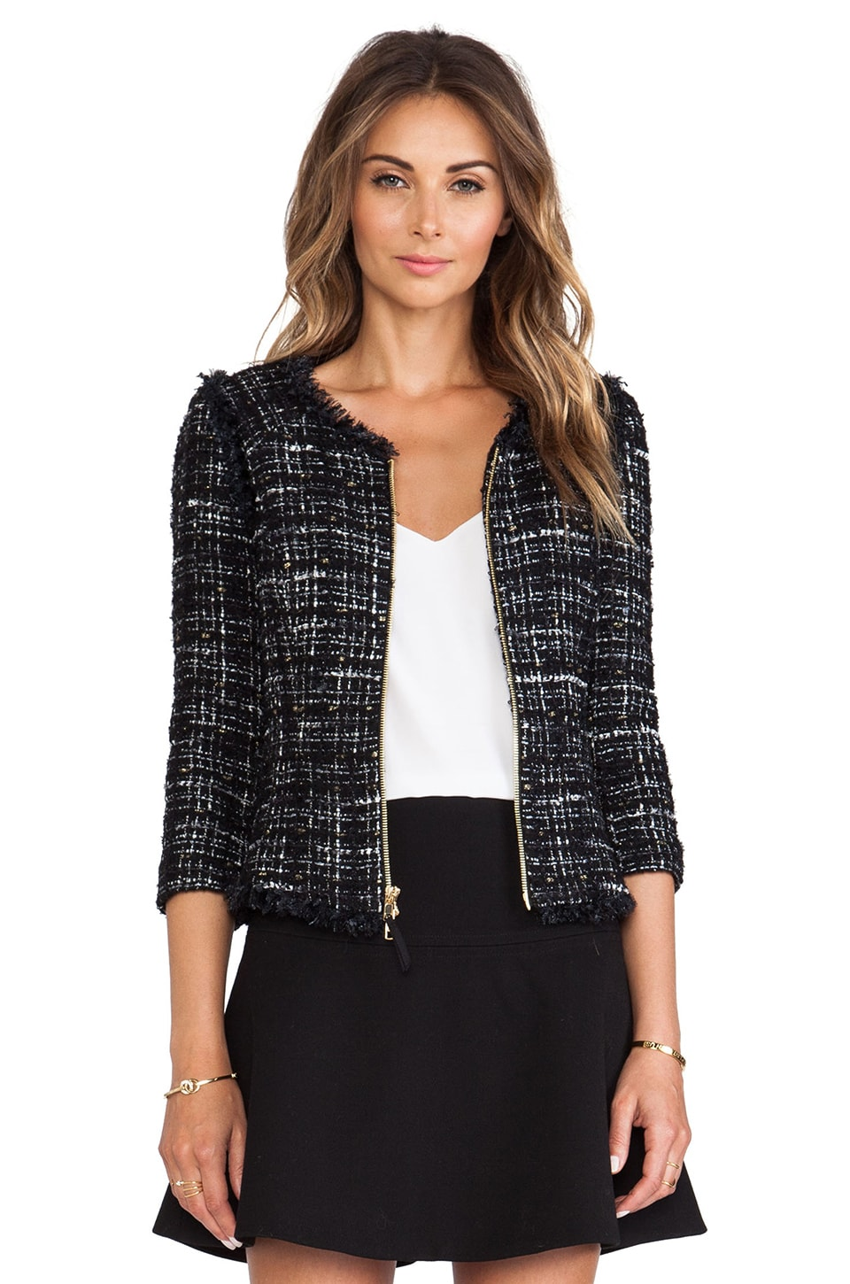 MILLY Featherweight Italian Tweed Fringe Zip Jacket in Black
