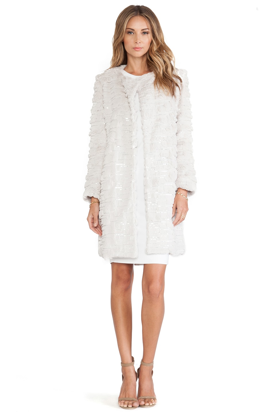 MILLY Sequin Embroidered Faux Fur Coat in Beige
