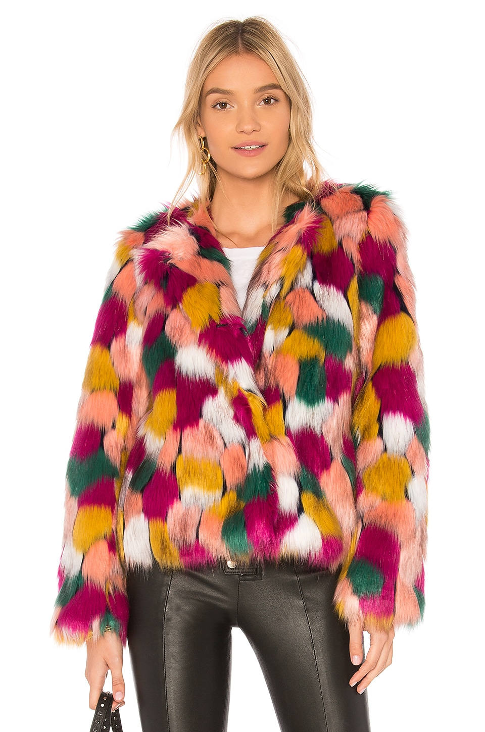 MILLY Faux Fur Jacket in Multi
