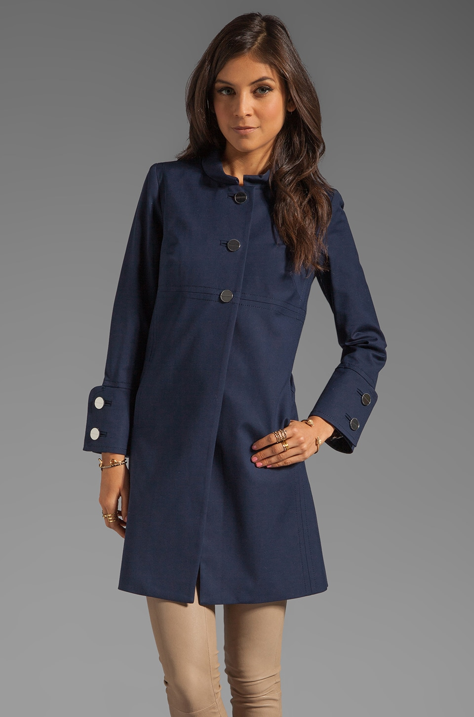 MILLY Fabulous Rowan Day Coat in Navy