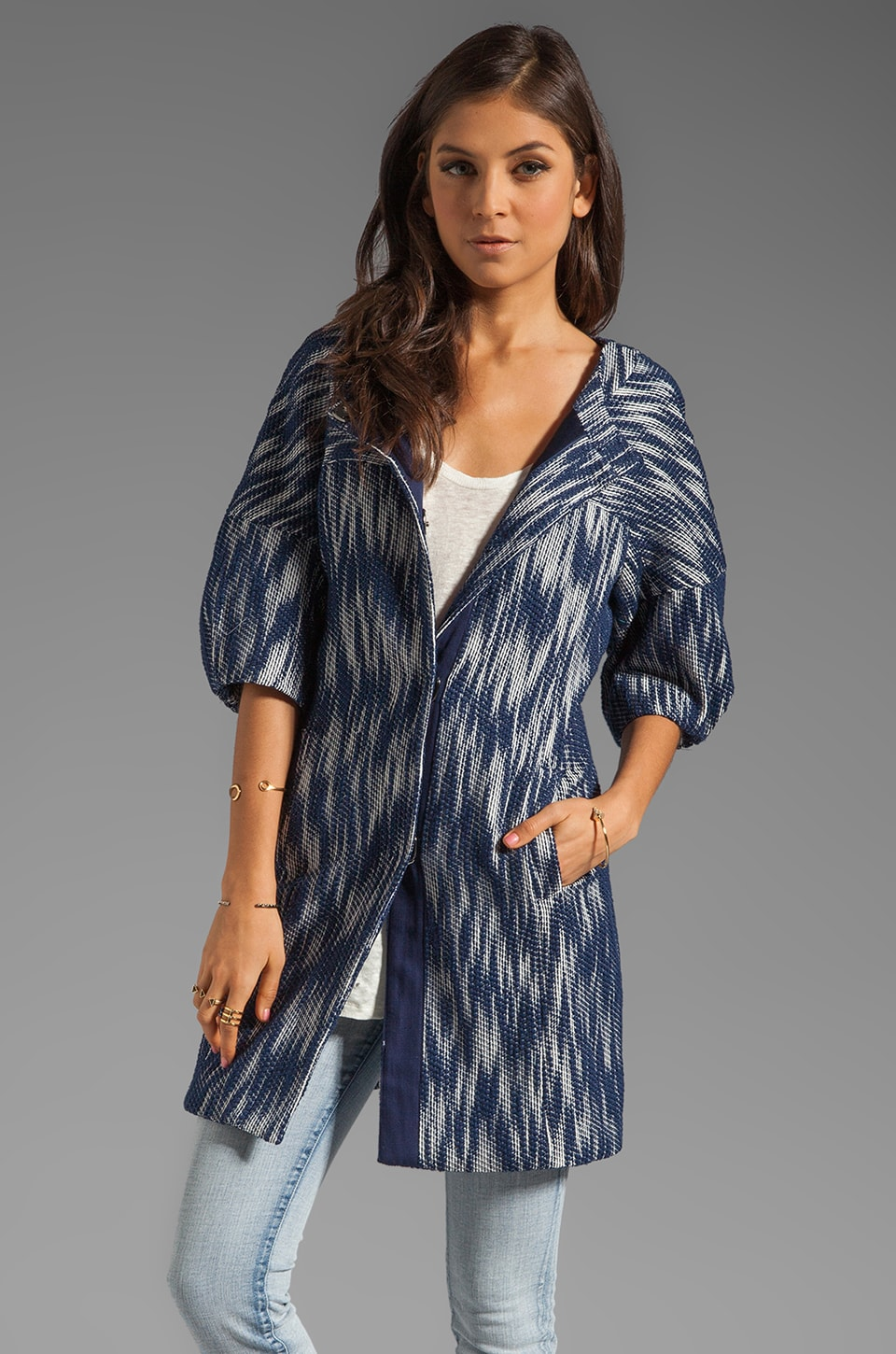 MILLY Ikat Jacquard Bianca Day Coat in Navy