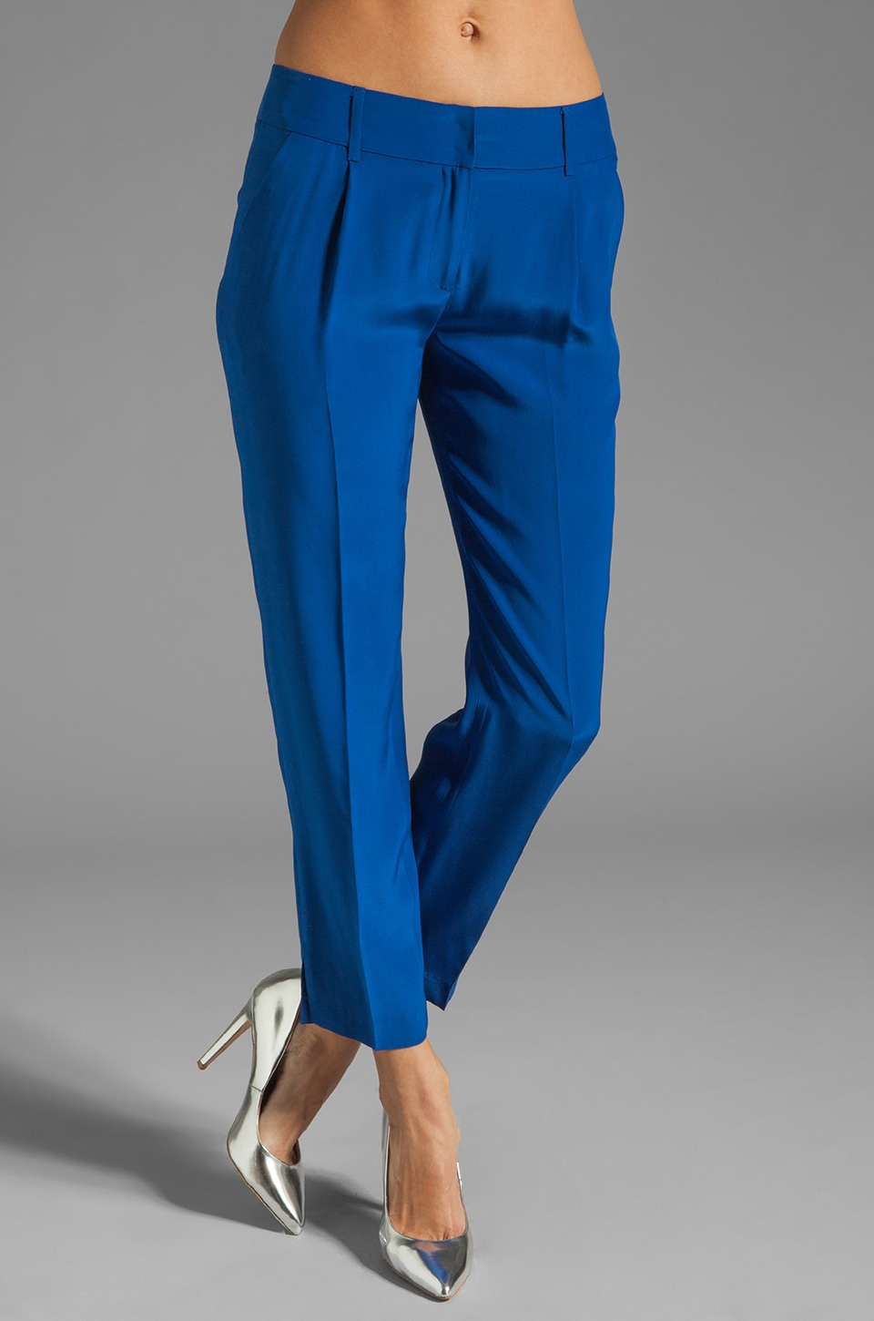 MILLY Solid Silk Nicole Pant in Cobalt