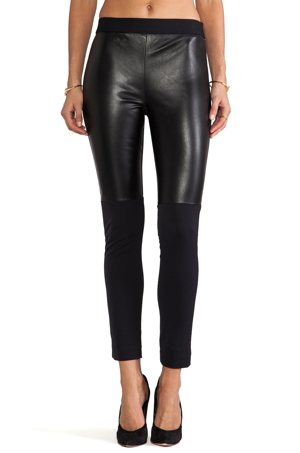 MILLY Italian Doubleweave Stretch Bi Front Leather Panel Pant in Black