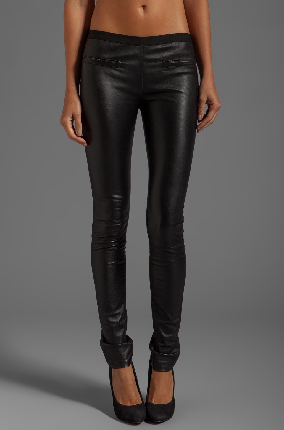 MILLY Stretch Plonge Leather Monic Pants in Black
