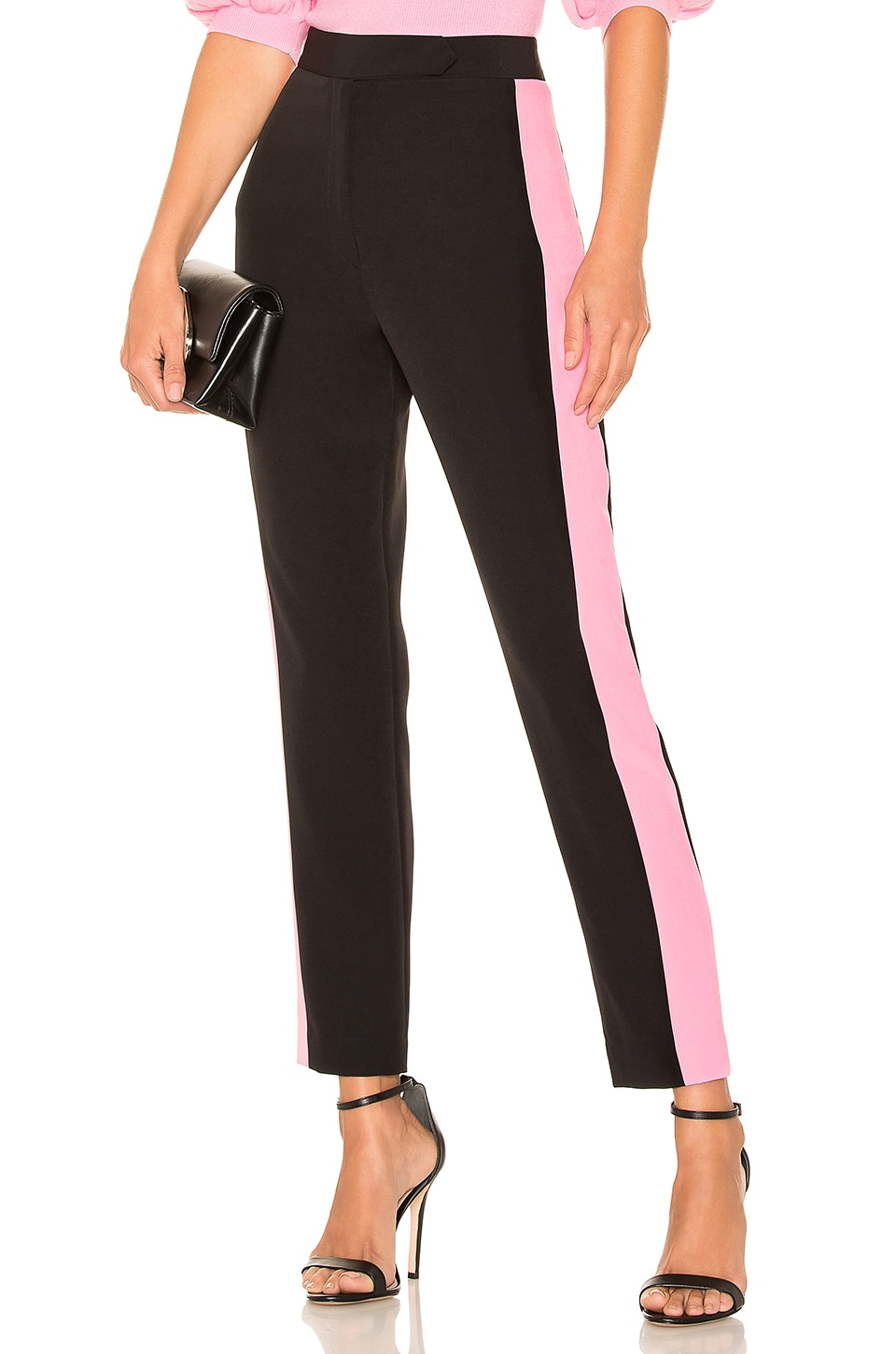 MILLY High Waist Side Combo Skinny Pant in Black & Candy Pink