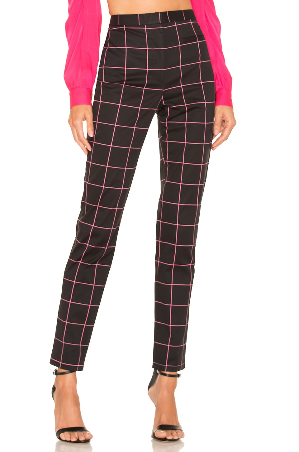 MILLY Techno High Waist Pant in Black & Pink