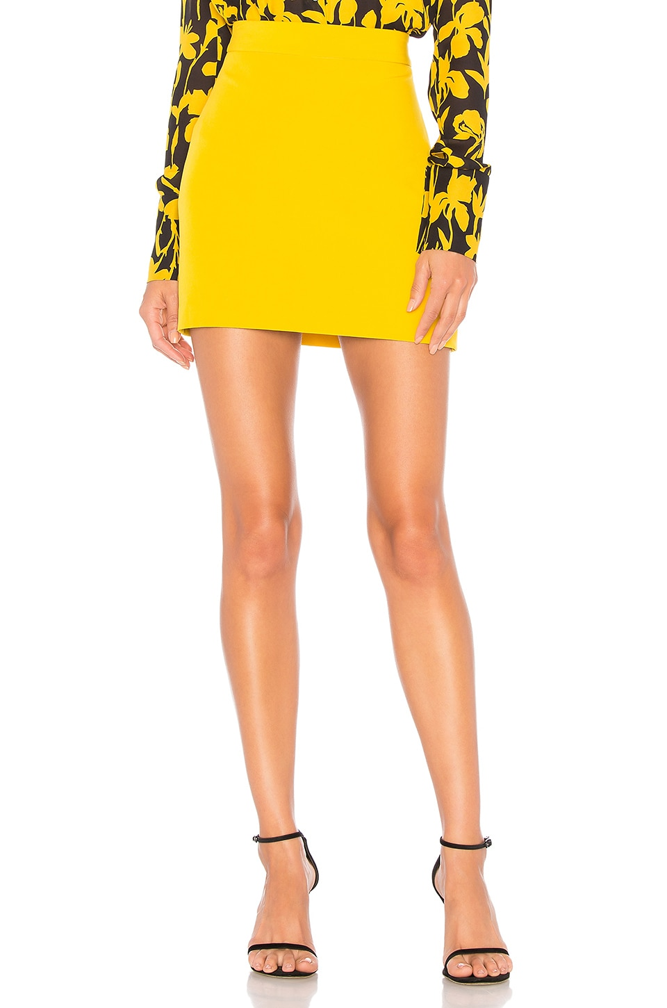 MILLY Cady Modern Mini Skirt in Yellow