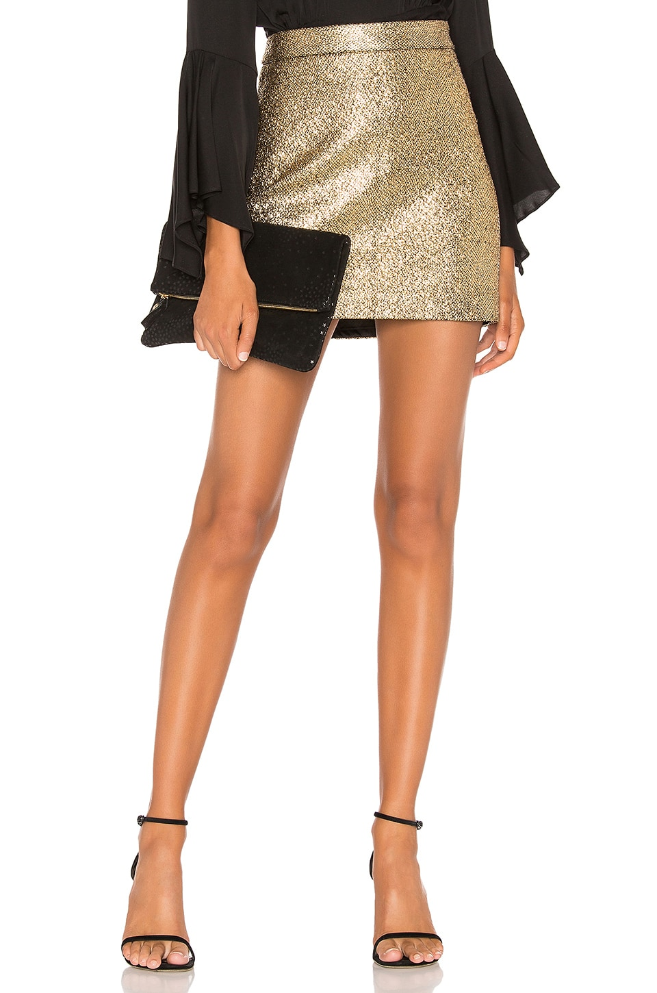 MILLY Modern Mini Skirt in Gold