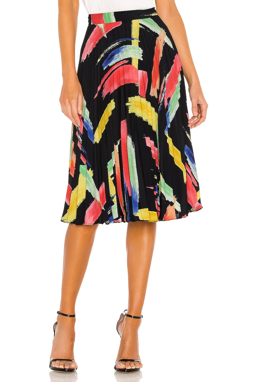MILLY Modern Brushstroke Print Twill Pleated Skirt in Multi