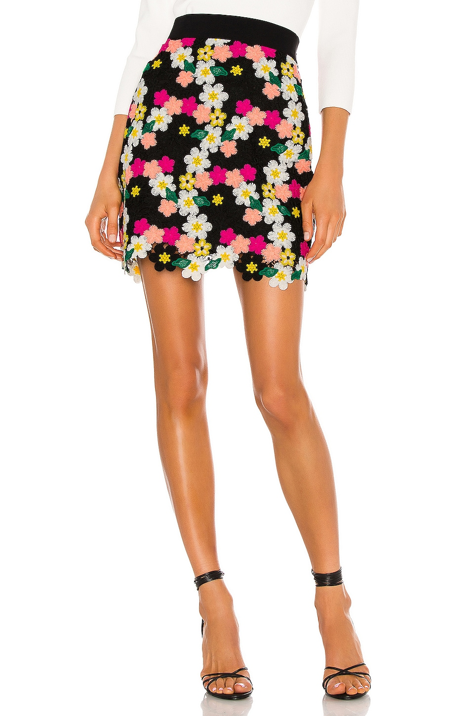 MILLY Floral Crochet Mini Skirt in Dark Floral