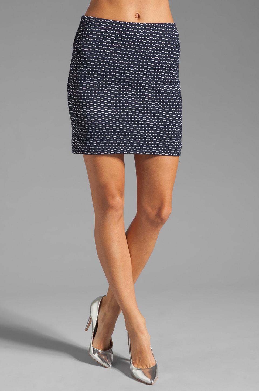MILLY Italian Wavestitch Stella Stretch Mini Skirt in Navy