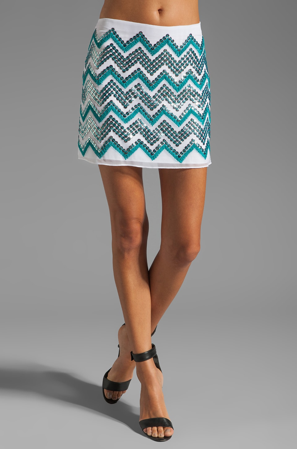 MILLY Mirrored Paillette Embroidered Mini Skirt in Ecru and Aqua