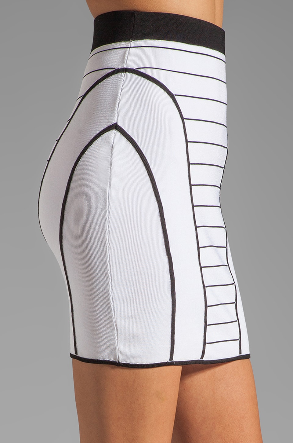 MILLY January Knits Camille Pencil Skirt in White/Black