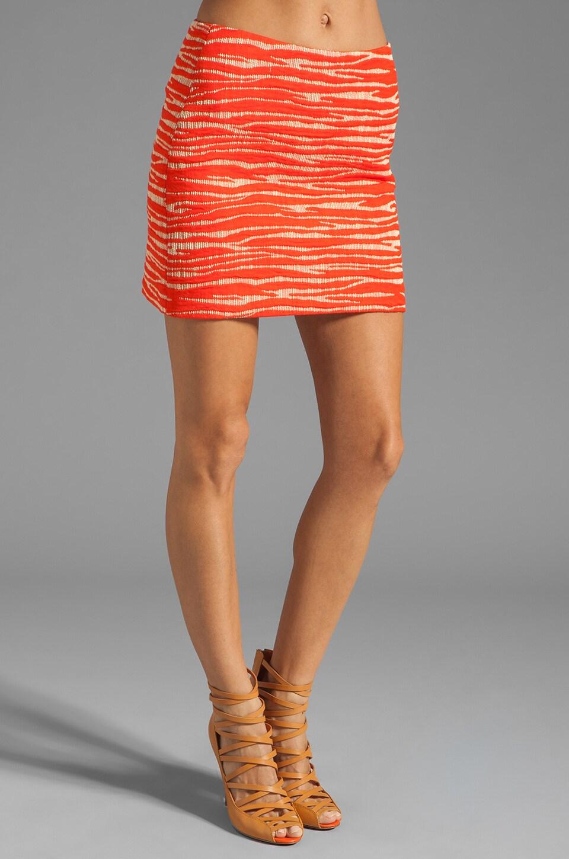 MILLY Zebra Jacquard Classic Mini Skirt in Persimmon